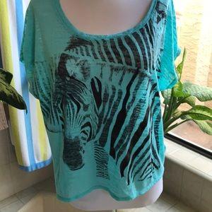 Zebra pattern teal and black scoop neck crop top